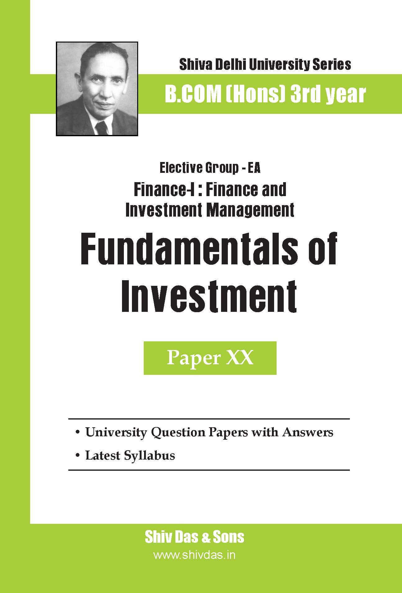 B.Com Hons-SOL/External-3rd Year-Fundamentals of Investment-Shiv Das-Delhi University Series